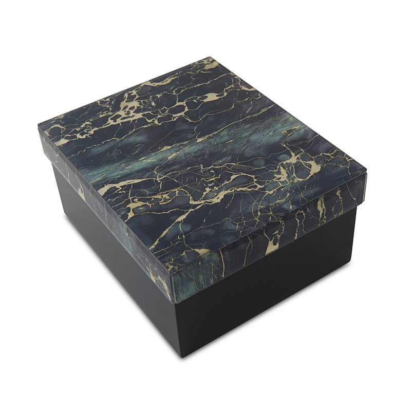 Modern Green and Black Marbled Glass Cremation Urn Box - Medium