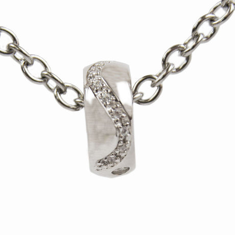 Diamond Cremation Bead Charm - Sterling Silver