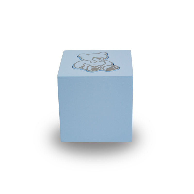 Baby Blue Teddy Bear Infant Cube Urn