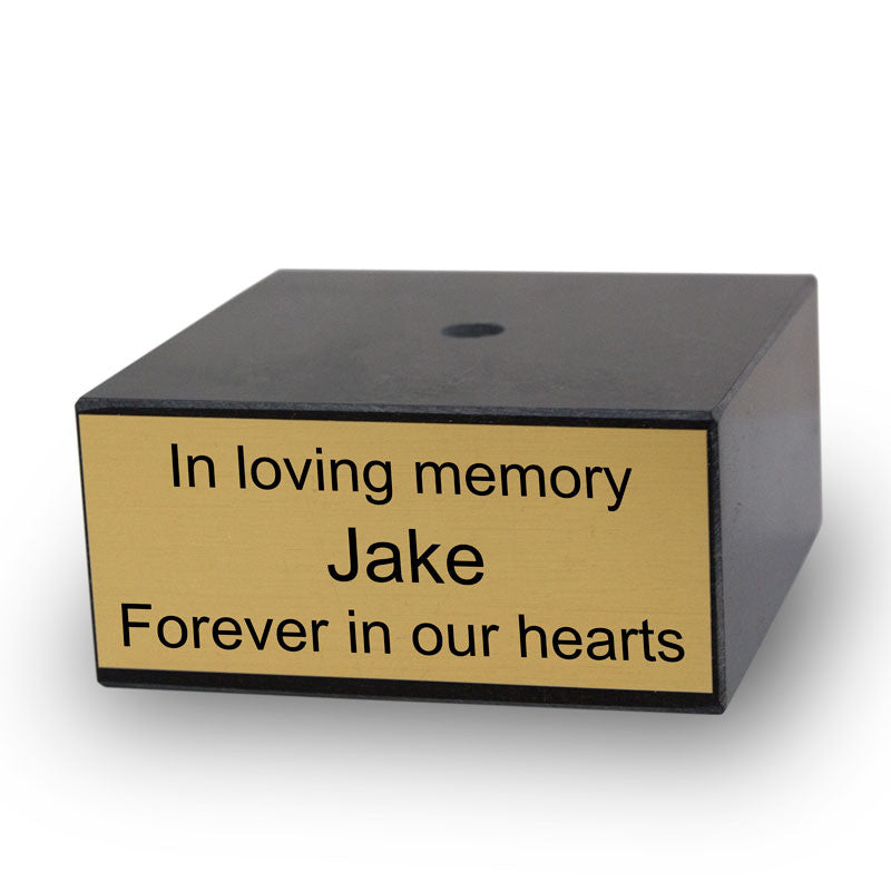 4 inch Genuine Black Marble Base with Gold Engravable Plaque
