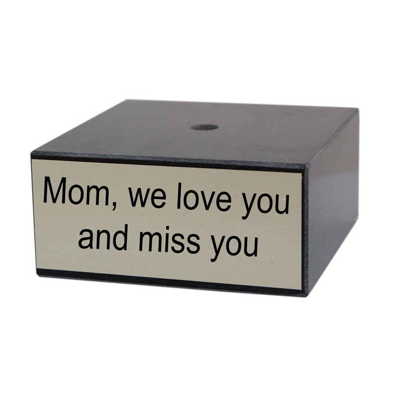 4 inch Genuine Black Marble Base with Silver Engravable Plaque