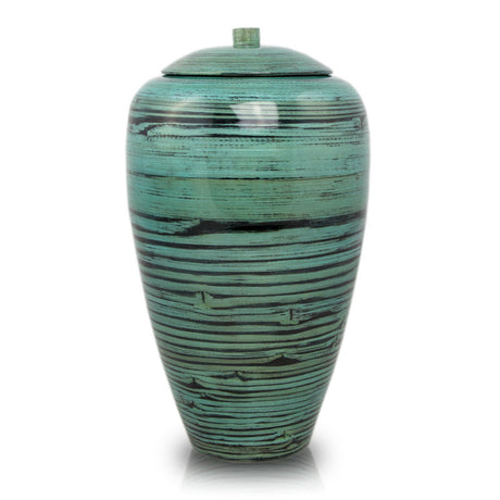 Tall Bamboo Cremation Urn- Black Lined Blue