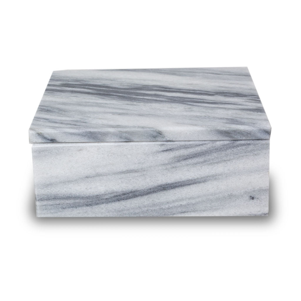 Cloud Grey Marble Cremation Urn Keepsake Box - Small
