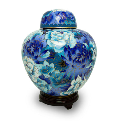 Floral Blue Cremation Urn - Large