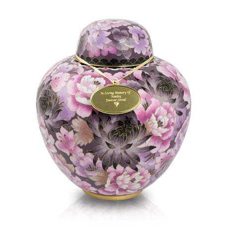 Floral Blush Cloisonne Cremation Urn - Large