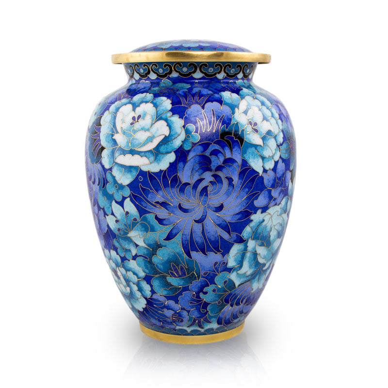 Cloisonne Blue Cremation Urn - Large
