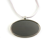 Silver Oval Pendant with Engraving