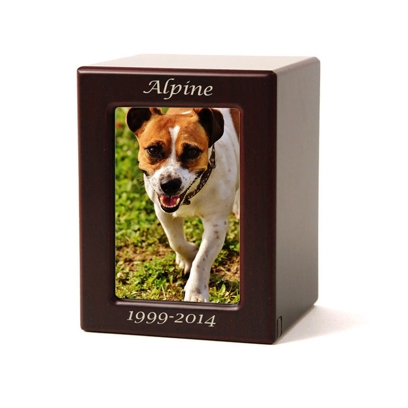 Cherry MDF Pet Photo Cremation Urn - Small