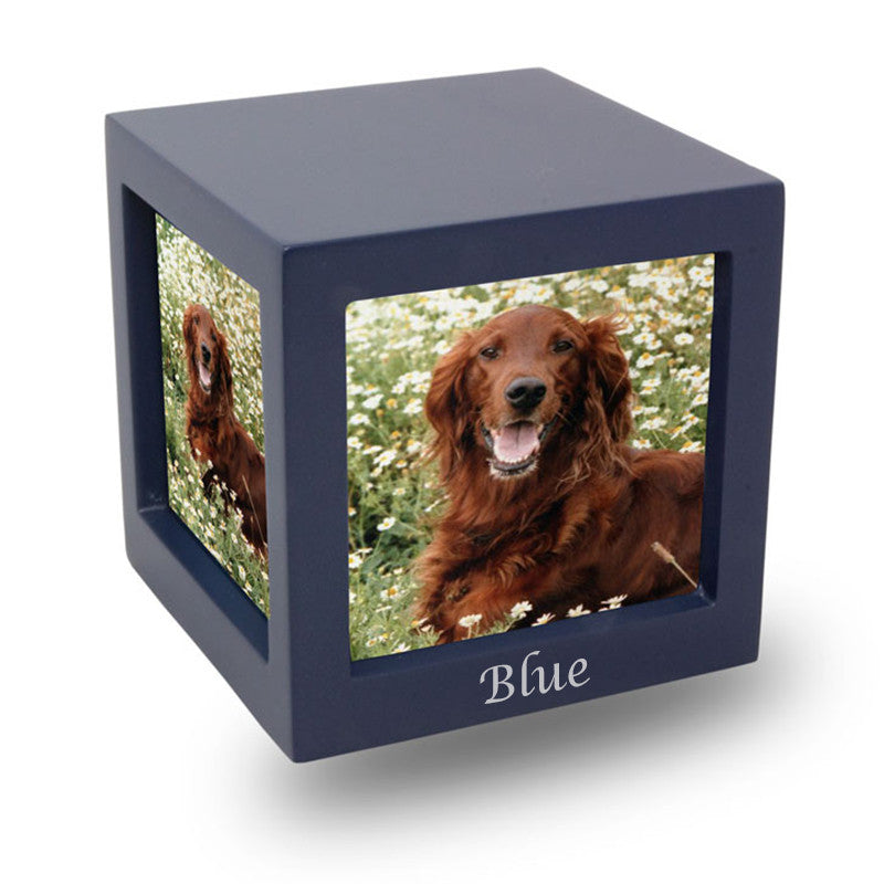 Navy Photo Cube Cremation Urn - Medium