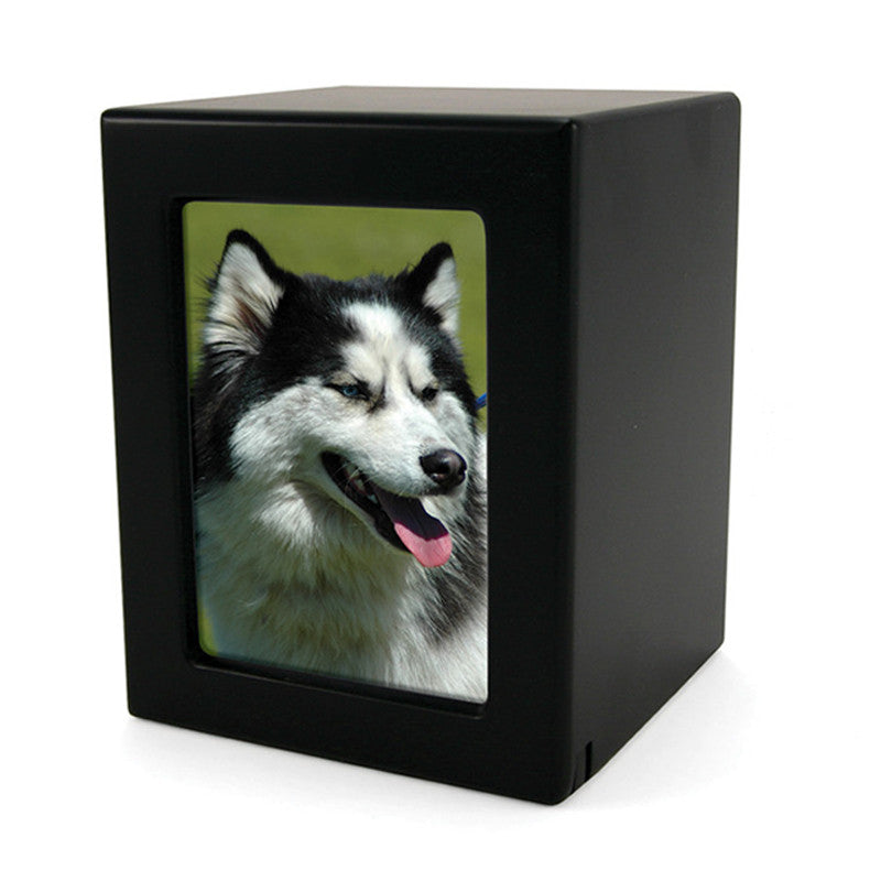 Black MDF Pet Photo Cremation Urn - Medium