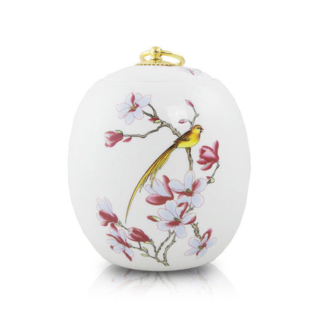 Golden Bird Ceramic Urn - Medium