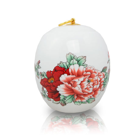 Red Peony Ceramic Cremation Urn - Small