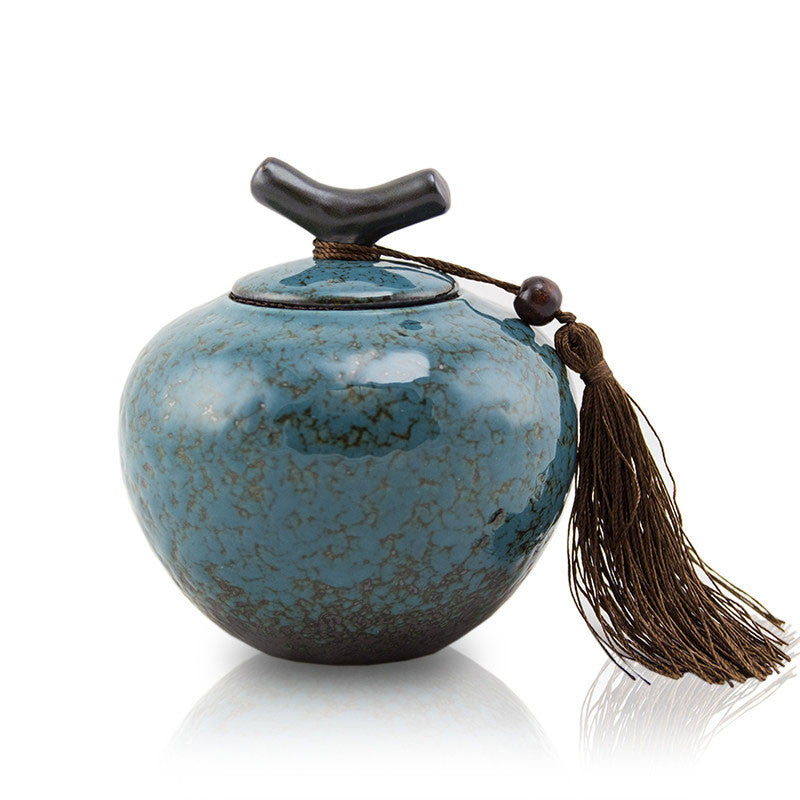 Small Ceramic Pet Urn - Turquoise