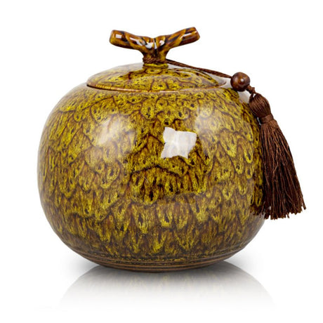 Autumn Yellow Ceramic Cremation Urn
