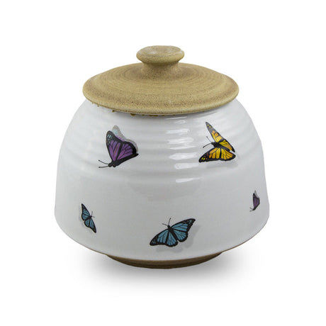 Large Ceramic Cremation Urn - Rainbow Butterflies