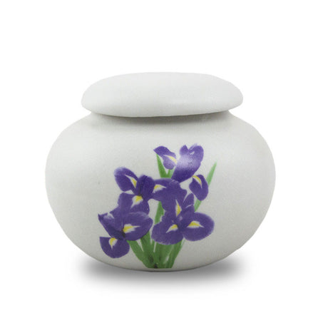Extra Small Ceramic Cremation Urn Keepsake - Purple Irises