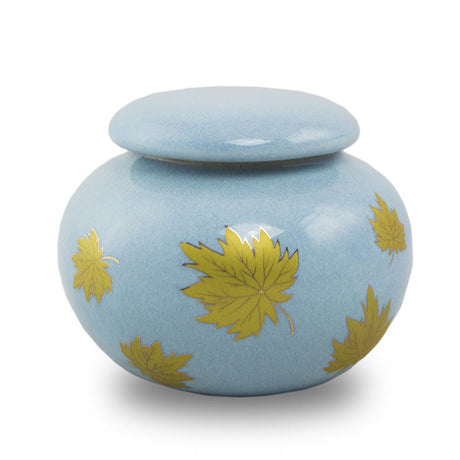 Golden Leaves Ceramic Cremation Urn Keepsake - Extra Small