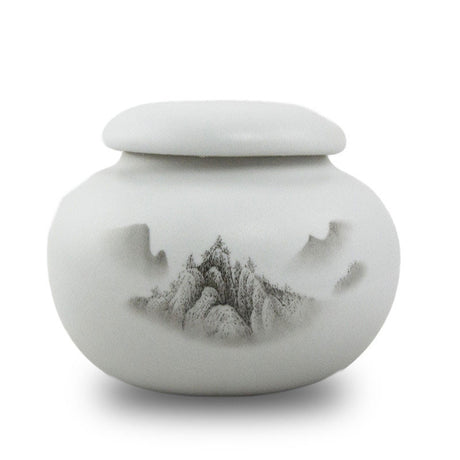 Extra Small Ceramic Cremation Urn Keepsake - Meditation