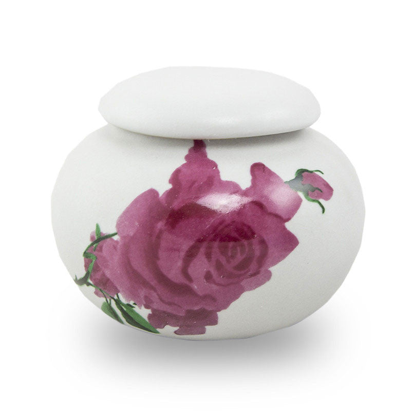 Extra Small Ceramic Cremation Urn Keepsake - Rose