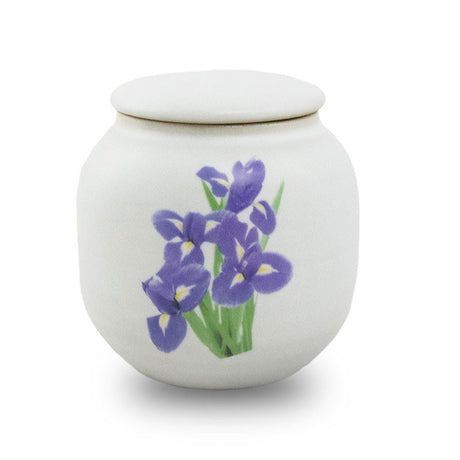 Irises Ceramic Cremation Urn - Extra Small