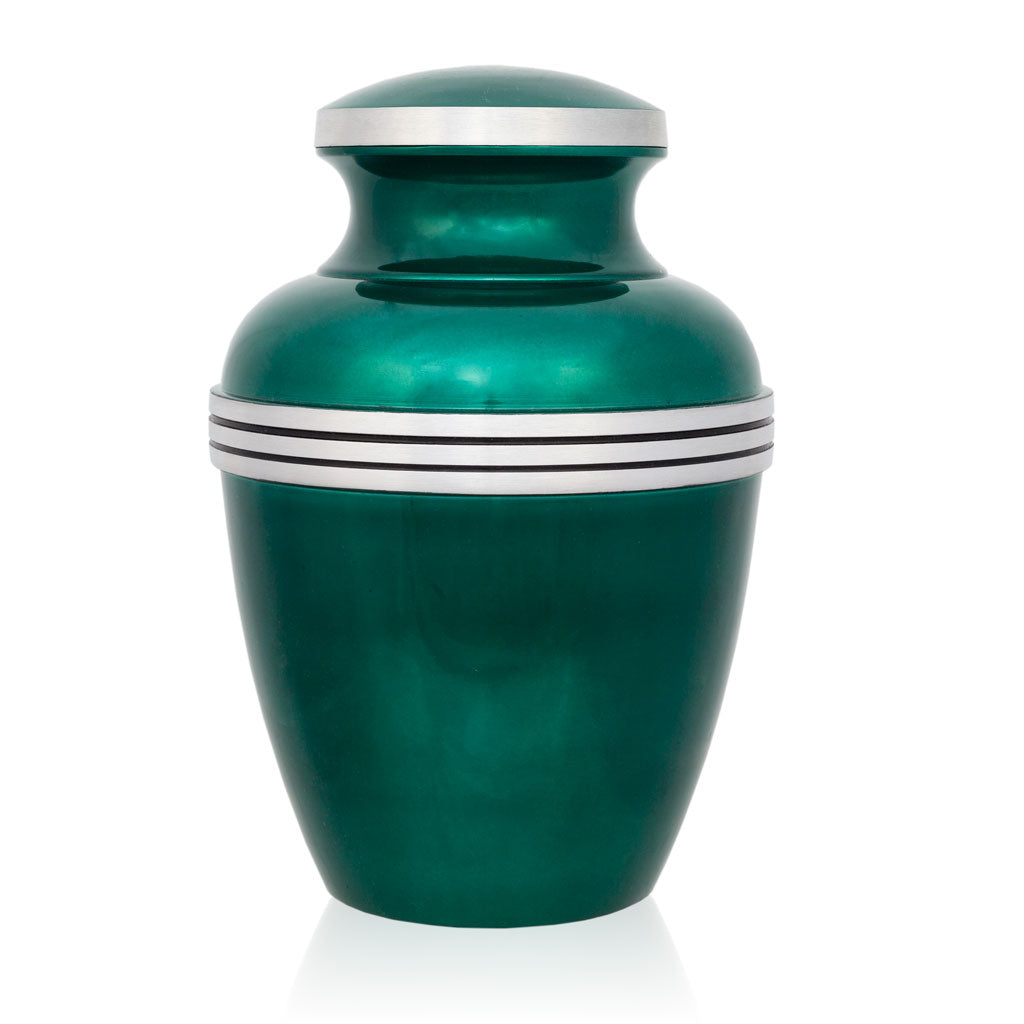 Dark Green Banded Cremation Urn