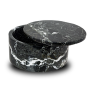 Noire Marble Cremation Urn Circular Keepsake Box - Small