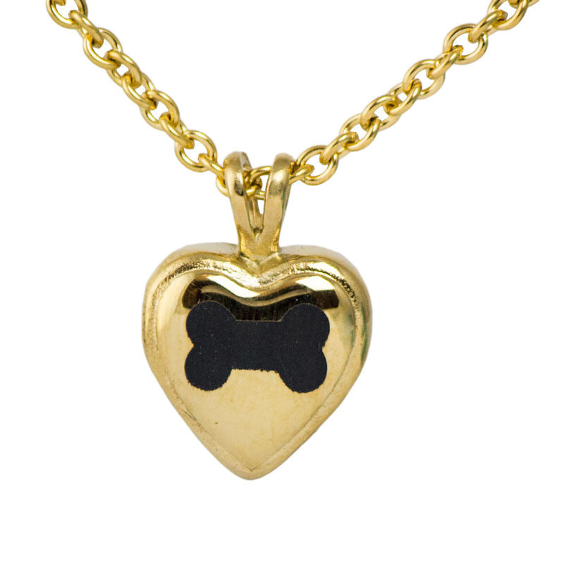 Dog Bone Heart Stainless Steel Cremation Pendant