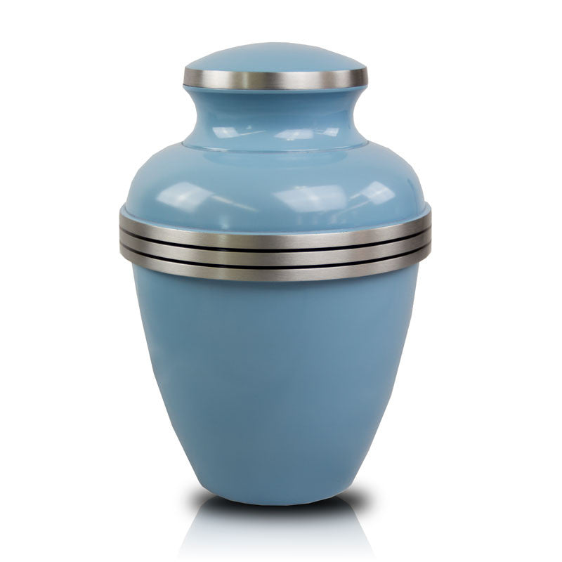 Light Blue Banded Cremation Urn