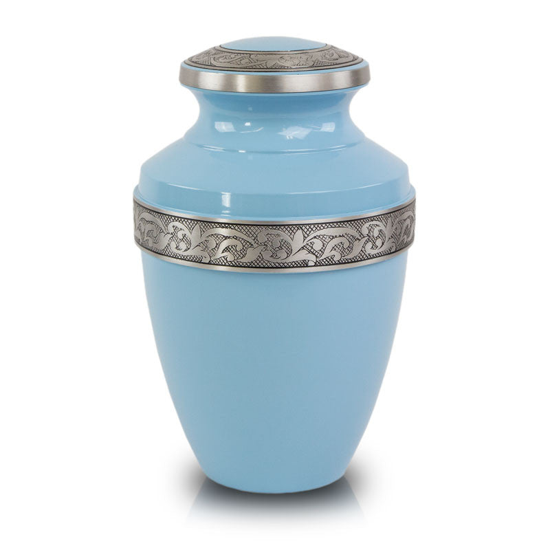 Blue Cremation Urn with Floral Band
