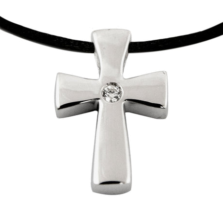 Sparkling Cross Cremation Pendant - Sterling Silver