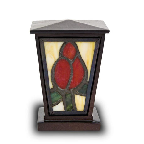 Red Rose Stained Glass Cremation Keepsake