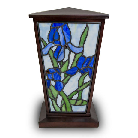 Blue Iris Stained Glass Cremation Urn