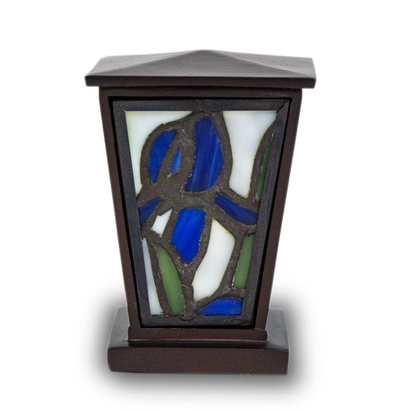 Blue Iris Stained Glass Cremation Keepsake