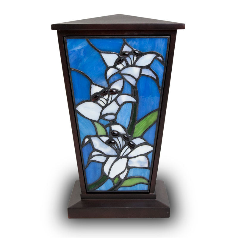 White Lily Stained Glass Cremation Urn