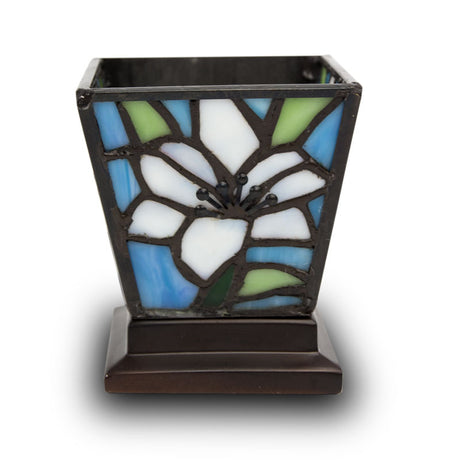 White Lily Stained Glass Cremation Candle  Keepsake