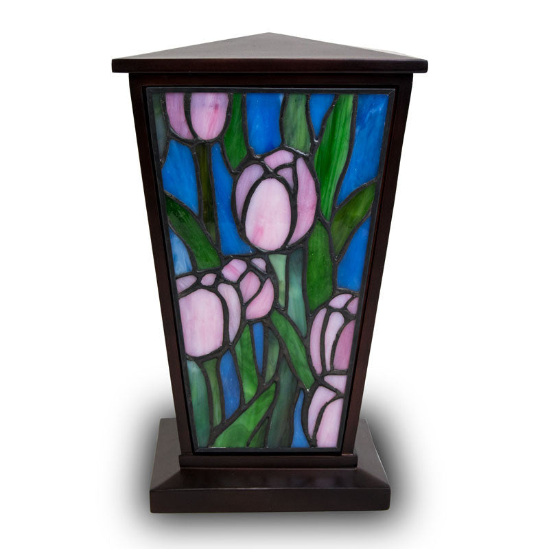 Pink Tulip Stained Glass Cremation Urn