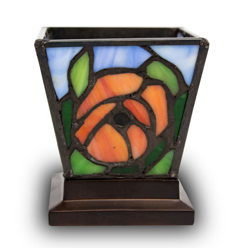 Red-Orange Poppy Stained Glass Candle Keepsake
