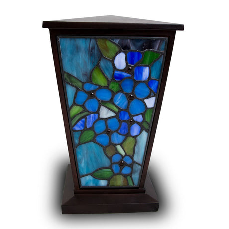 Blue Forget-Me-Not Stained Glass Cremation Urn