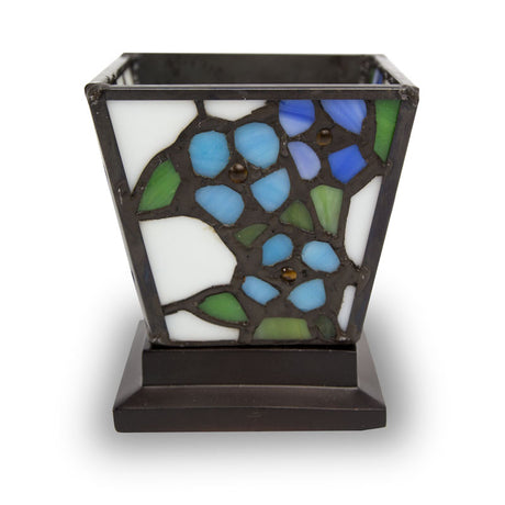 Blue Forget-Me-Not Stained Glass Cremation Keepsake Candle Holder
