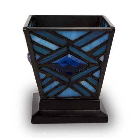 Mission Style Cremation Keepsake Candle Holder- Indigo Blue
