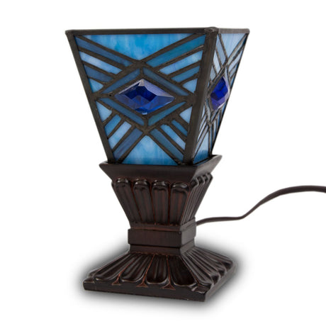 Mission Style Cremation Memory Lamp- Indigo
