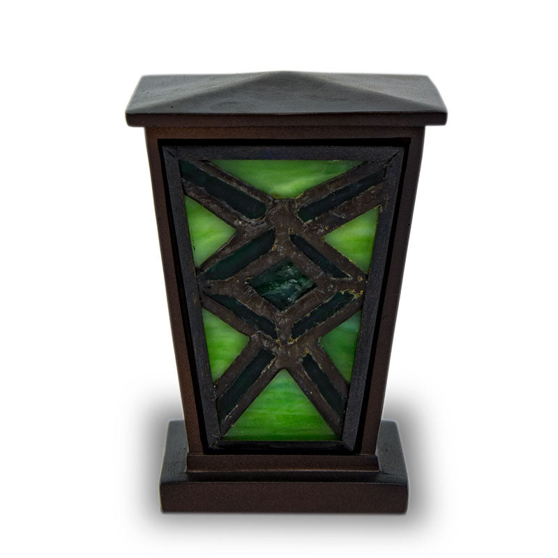 Emerald Mission Style Stained Glass Cremation  Keepsake