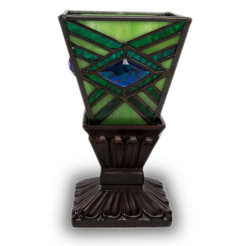 Emerald Mission Style Stained Glass Memory Lamp