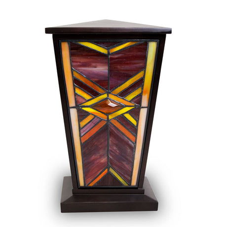 Ruby Mission Style Stained Glass Cremation Urn
