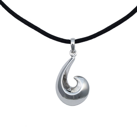 Fish Hook Cremation Pendant - Sterling Silver