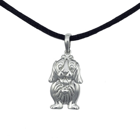 Cute Dog Cremation Pendant - Sterling Silver