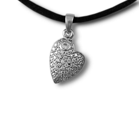 Flowered Heart Cremation Necklace Pendant - Sterling Silver
