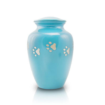Paw Paths Cremation Urn - Small Teal