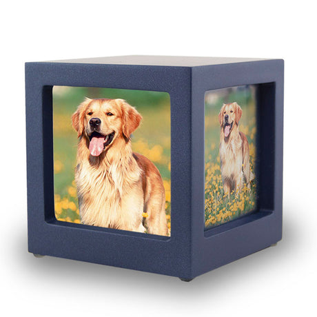 Navy Pet Photo Cube Urn - Small