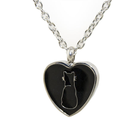 Cremation Necklace - Black Cat Silhouette